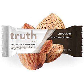 The Truth Bar Llc Truth Bar (Prebiotic + Probiotic) - Low Sugar, High Fiber, High Protein, Gluten Free, Tummy Soothing, Chocolate Almond Crunch (12 Pack)