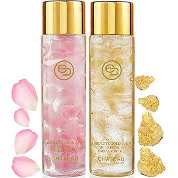 Absolute Gold 24K ROSE PETAL FACIAL TONER - GOLD PETAL FACIAL TONER (pack 2). 24 KARAT GOLD/COLLAGEN. For all skin types.