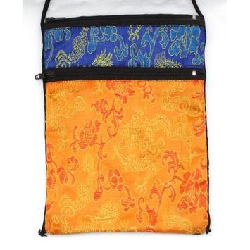 Orange and Blue Tarot or Passport Bag in Retired Sari Rayon Brocade