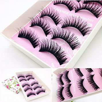 Fullkang 5 Pairs Fashion Natural Handmade Long False Black Eyelashes Makeup