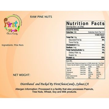 Raw Pine Nuts 1 Pound 16 oz In FirstChoiceCandy Resealable Gift Bag