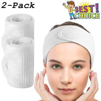 Waffle Spa Headbands for Women - COSCOD 2 Pack Facial Head Wrap Terry Cloth Headband Stretch Towel with Magic Tape for Bath, Makeup and Sport Microfiber Hair Band