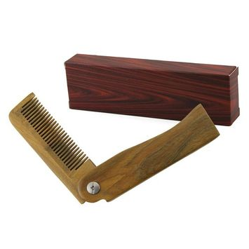 Folding Wood Comb, Zilong Pocket Size Anti-Static Wooden Styling Comb for Men and Women