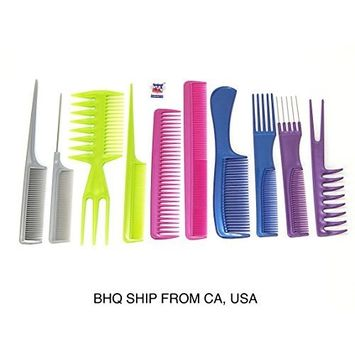 10pcs Color Professional Combs Hairdressing Hair Salon Styling Barbers Set Kit by Beauty Headquarters