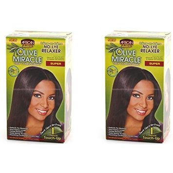 [ PACK OF 2] AFRICAN PRIDE No-Lye RELAXER Olive Miracles Deep Conditioning SUPER (1 TOUCH UP): Beauty