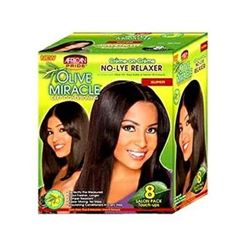 African Pride Olive Mirache Deep Conditioning No Lye Relaxer Super 8 Salon Pack Touch ups