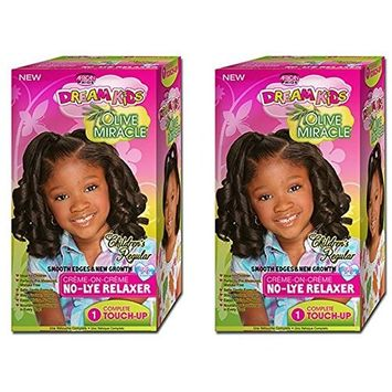 [ PACK OF 2] African Pride Dream Kids Olive Miracle No-Lye Creme Relaxer 1 Touch Up Kit Regular: Beauty