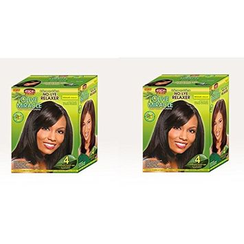 [ PACK OF 2] AFRICAN PRIDE No-Lye RELAXER Olive Miracles Deep Conditioning REGULAR (4 APP): Beauty
