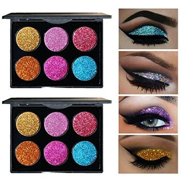 CYCTECH 6 Colors Shimmer Matte Palette Glitter Eye Shadow for Professional Makeup or Daily Use