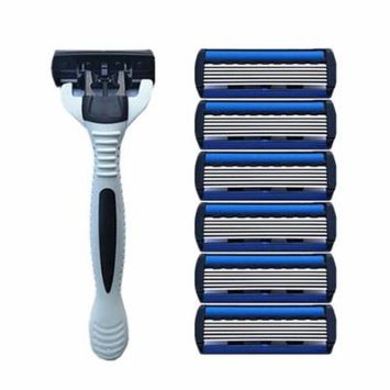1+4 Combo Set Men Safety Traditional Classic 6 Layers Shaving Hair Blade Razor Manual Stainless Steel Shaving Hair Blade