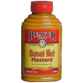 Beaver Sweet Hot Mustard, 13 Ounce Squeeze Bottle (Pack of 2)