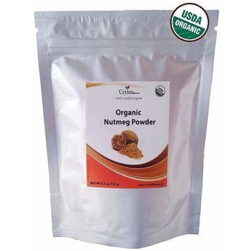 Organic Nutmeg Powder (5.5 oz), Premium Grade, Harvested & Packed from a USDA Certified Organic Farm in Sri Lanka (stand up resealable pouch)