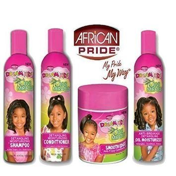 African Pride Dream Kids Olive Miracle Detangling Moisturizing set of 4 products by Dream