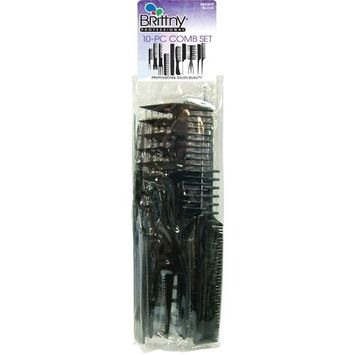 Brittny Comb Set - Black 10-Count (Pack of 2)