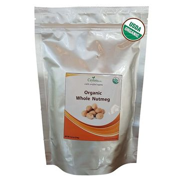 Organic Whole Nutmeg (8.8 oz), Premium Grade, Harvested & Packed from a USDA Certified Organic Farm in Sri Lanka (stand up resealable pouch)