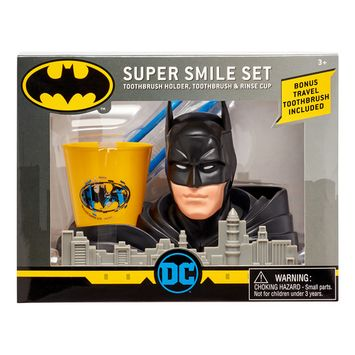 Batman 3-Piece Super Smile Toothbrush and Toothbrush Holder Set