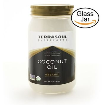 Terrasoul Superfoods Extra Virgin Organic Coconut Oil, 2 Pounds (Glass Jar)