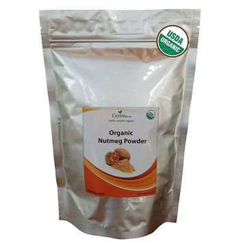 Organic Nutmeg Powder (8.8 oz), Premium Grade, Harvested & Packed from a USDA Certified Organic Farm in Sri Lanka (stand up resealable pouch)