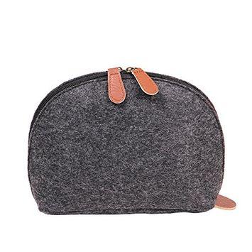 Soft Shell Shape Felt Handbag Makeup Bag Travel Pouch Storage Bags Organizer Purse Black