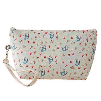 Sweet PU Animal Printing Makeup Bag Pouch Travel Bags Waterproof Purse Organizer Blue Teapot