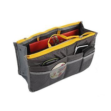 1Pc Multi Portable Double Zipper Storage Bag Makeup Organiser Handbag Bag in Bag Travel Organizer Gray
