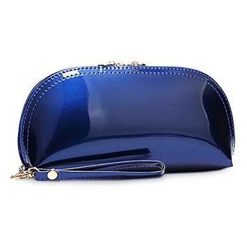 Fashion Flashing PU Makeup Bag Handbag Candy Color Makeup Organizer Clutch Bags Royal Blue