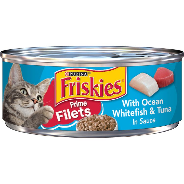 Purina Friskies Wet Cat Food, Prime Filets With Ocean Whitefish & Tuna in Sauce - 5.5 oz. Can