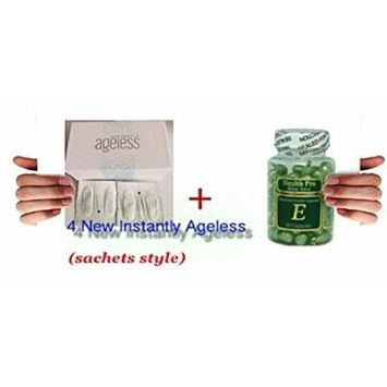 Bundle Set of 4 sachets of Jeunesse Instantly Ageless Botox Without the Needles anti-wrinkle microcream , Plus 1 Aloe Vera & Vitamin E Skin Oil 90 Green Capsules