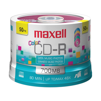Maxell 50 pk. CD-R Media, Spindle - Color