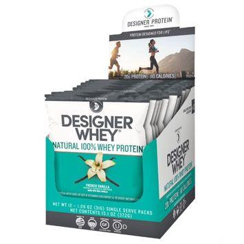 Designer Protein, Designer Whey, Natural 100% Whey Protein, French Vanilla, 12 Packs, 1.09 oz (31 g) Each(pack of 2)