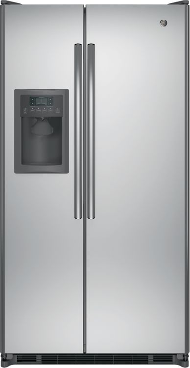 GE GSS25ESHSS 24.7 cu. ft. Side-by-Side Refrigerator with 3 Glass Shelves, 2 Adjustable-Humidity Crispers, Adjustable Gallon Door Bins, Ice and Water Dispenser, LED Lighting and ADA Compliant: Stainless Steel