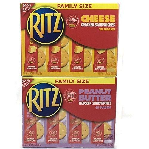 Ritz Sandwich Cracker Bundle (1 Box of Cheese, 1 Box of Peanut Butter. 16 Packs Per Box