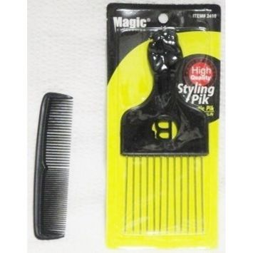 MAGIC COLLECTION Magic Black Standard Metal Afro Hair Pick with Fist & Unbreakable Pocket Comb