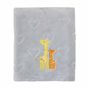 Kimberly Grant Embossed Hearts Soft French Fiber Baby Blanket, Grey/Yellow/Orange