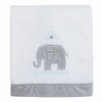 Aztec Mix & Match Super Soft Grey Elephant Appliqued Baby Blanket