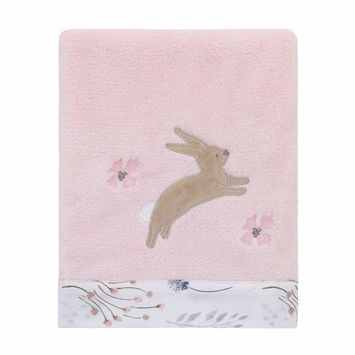 Woodland Wreath Pink, White Soft Plush Coral Fleece Baby Blanket with Floral Border and Bunny Applique
