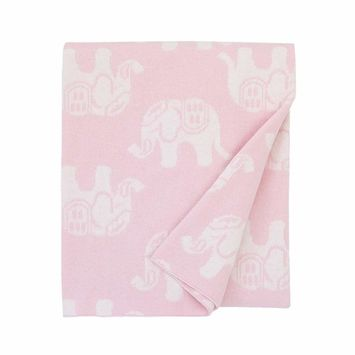 NoJo Serendipity - Pink Elephant Print 100% Cotton Baby Blanket