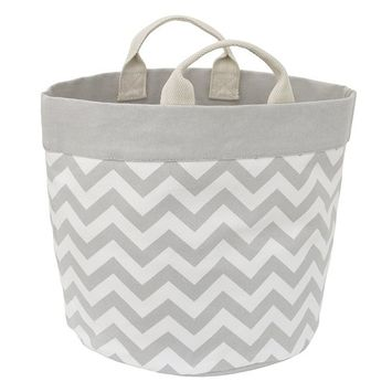 Little Love by NoJo Chevron Reversible Storage Tote with Handles, Gray/White