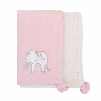 NoJo Serendipity - Pink Elephant Appliqued Plush Baby Blanket