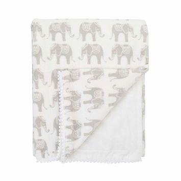 NoJo Serendipity - Ivory Elephant Print Plush Baby Blanket