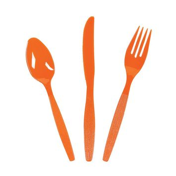 Fun Express - Orange High Count Cutlery Set (210pc) - Party Supplies - Solid Tableware - Cutlery - 210 Pieces