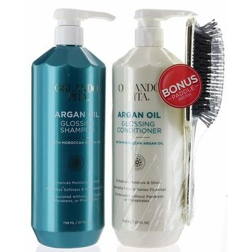 Bonus Set, Orlando Pita Moroccan Argan Oil Glossing Hair Shampoo and Conditioner 27 fl oz Plus Gold Brush