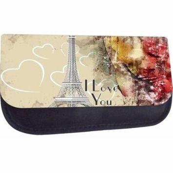 I Love You - Paris Design - Medium Sized Nylon-Lined Cosmetic Case - Love/ Valentine's Day Gift