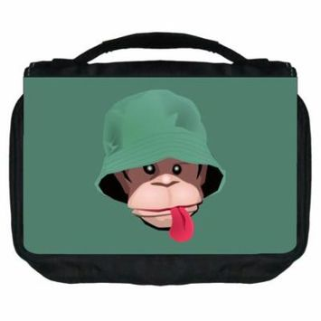Small Travel Toiletry / Cosmetic Case with 3 Compartments and Detachable Hanger Monkey on Teal