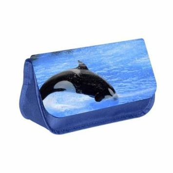 Orca Whale - Blue Medium Sized Makeup Bag with 2 Zippered Pockets and Velcro Closure
