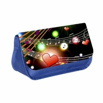 Musical Design - Blue Medium Sized Makeup Bag with 2 Zippered Pockets and Velcro Closure