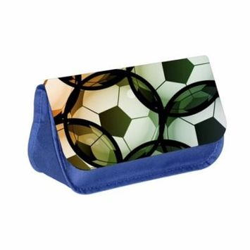 Soccer Balls - Blue Medium Sized Makeup Bag with 2 Zippered Pockets and Velcro Closure