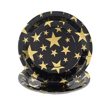 IN-70/5252 Gold Foil Star Dinner Plates 8 Piece(s) By Fun Express