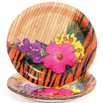 Fun Express - Paradise Safari Dessert Plates (8pc) for Party - Party Supplies - Print Tableware - Print Plates & Bowls - Party - 8 Pieces