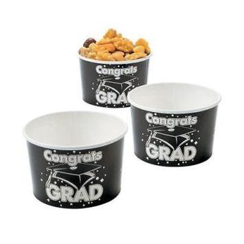 IN-13685294 Black Congrats Grad Snack Bowls BLACK